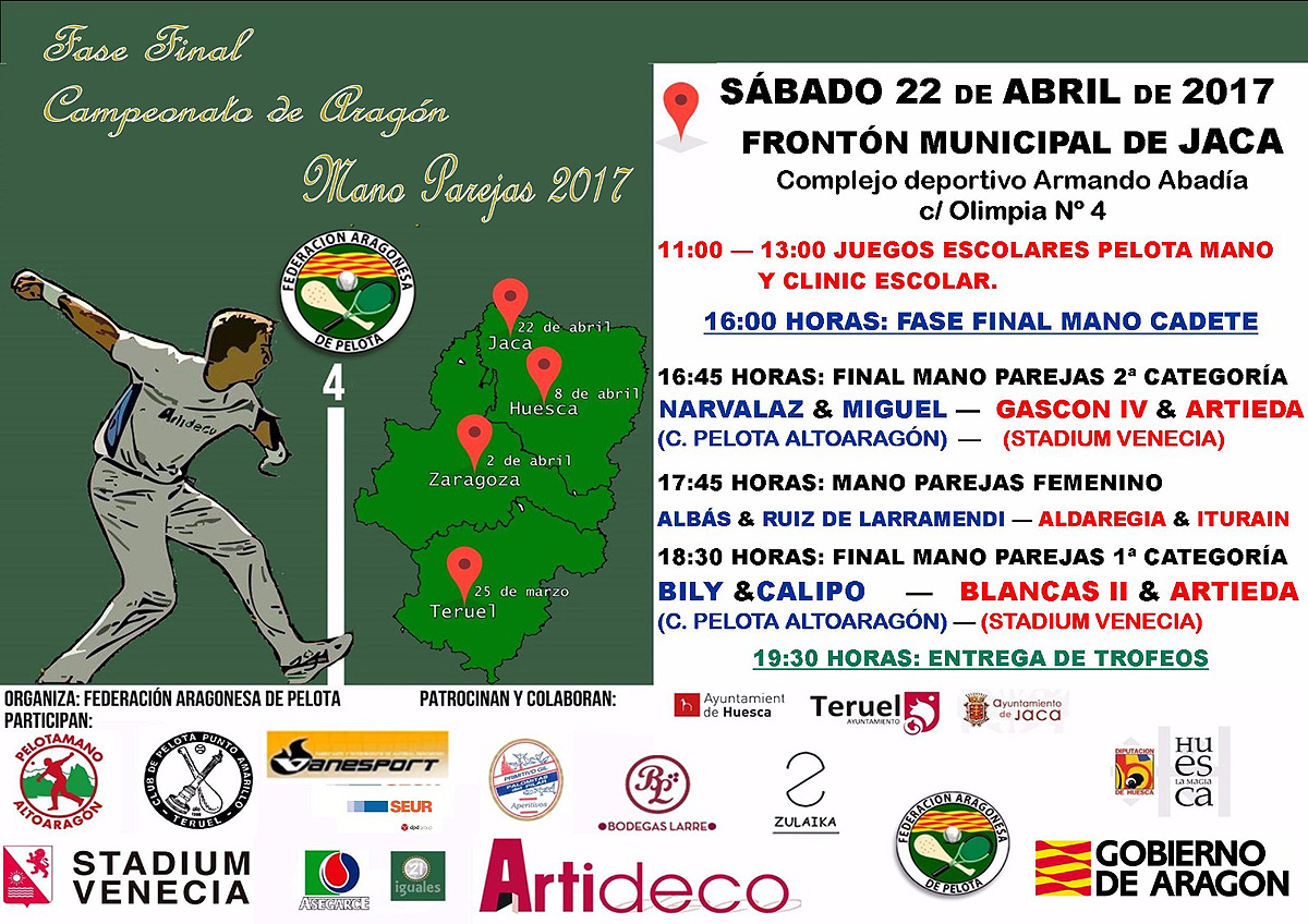 El Frontón Municipal de Jaca acogerá el próximo sábado 22 la final de parejas de pelota mano de Aragón.