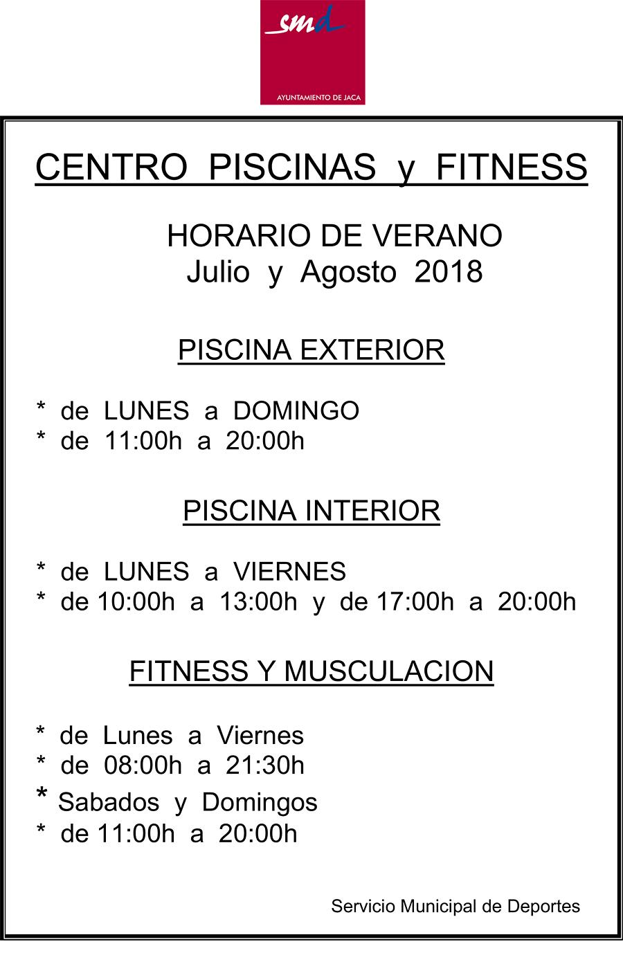 CENTRO  PISCINAS  y  FITNESS  HORARIO DE VERANO