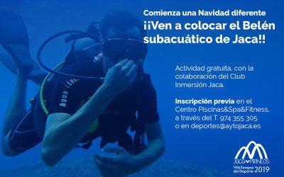 Colocación del Belén subacuático de Jaca