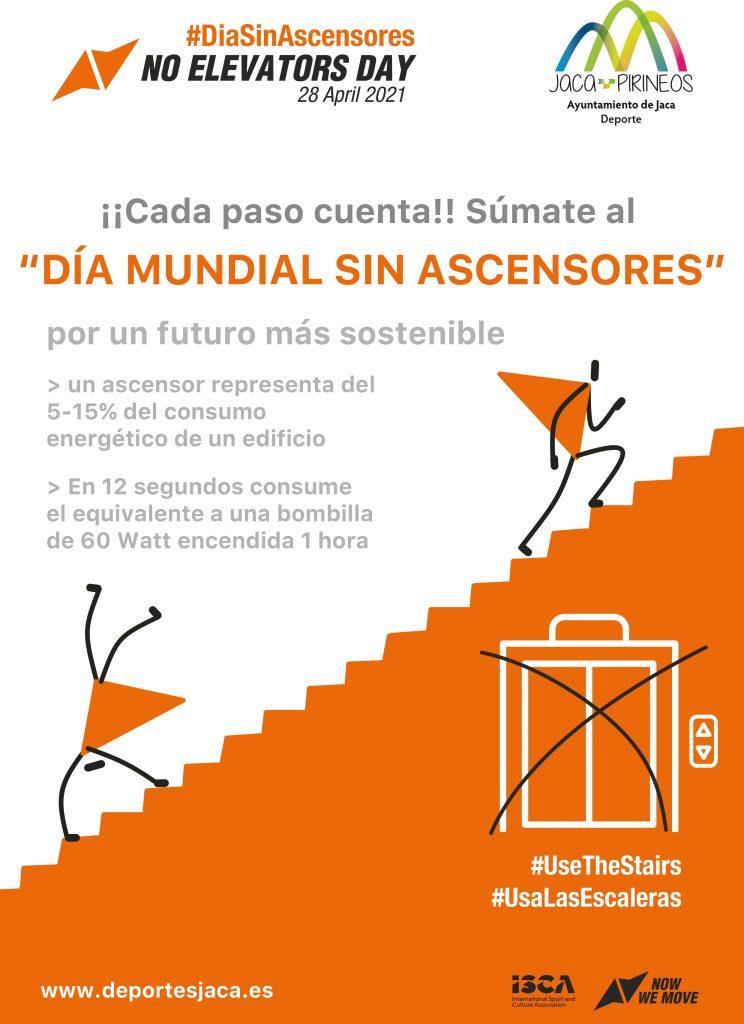 """Descargar PDF del cartel: ¡¡Cada paso cuenta!! Súmate al """"DÍA MUNDIAL SIN ASCENSORES"""" por un futuro más sostenible"""